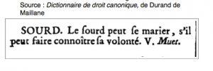 Droit canon sur mariage sourd, 1774.